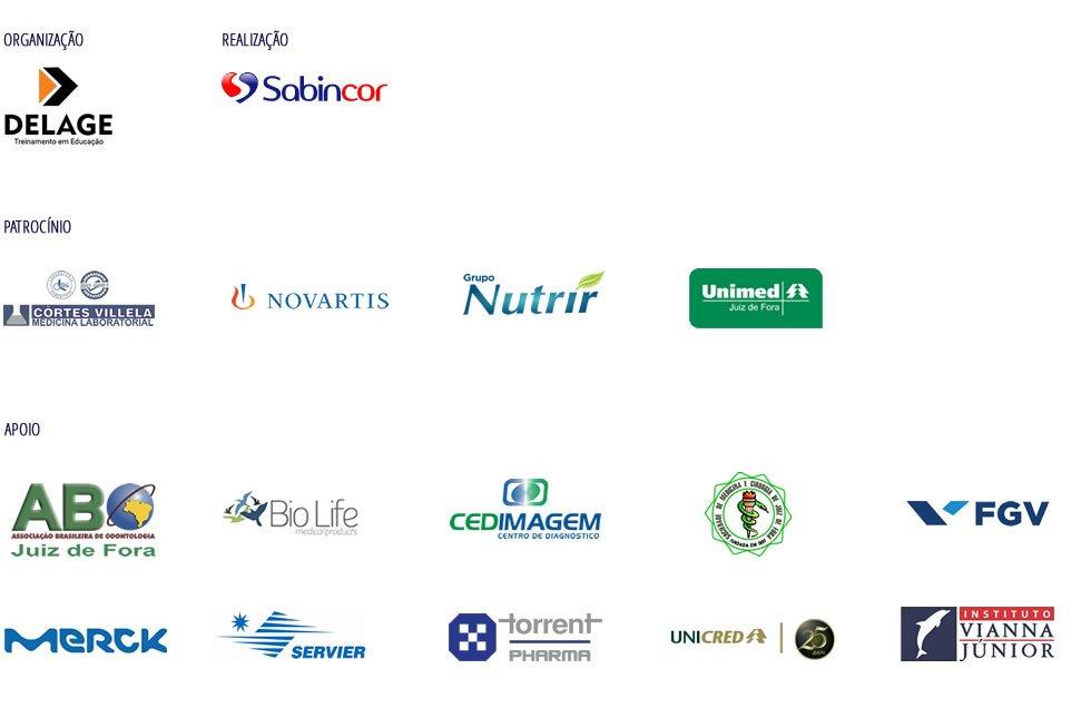 Logos realização, apoio e patrocínio Congresso Sabincor de Cardiologia